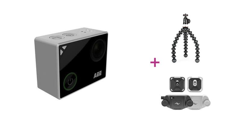 5. Platz: AEE Lyfe Silver Actioncam inkl. Joby GorillaPod 1K Kit + Peak Design Capture Clip & Plate, silber