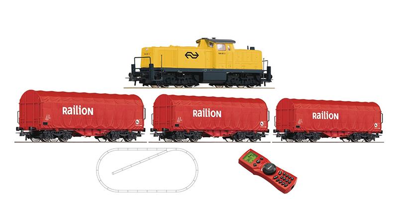 Roco Digital-Startset Diesellokomotive Serie 6494 der NS-Railion mit einem Stahlzug